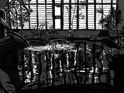 Koi pond at the Barbican ink illustrator illustration artwork illustraion drawing art