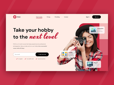 Photography course - Landing page hero hero section clean ui coaching online course education learning platform mentor photographer photo edit photo education website landing page landing skills development course hero course photography website photography