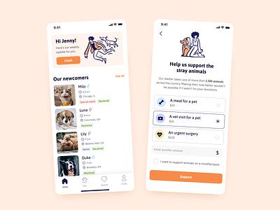Pet Adoption App concept mobile app product design nonprofit charity pet adoption apps pet adoption dog cat animals pet