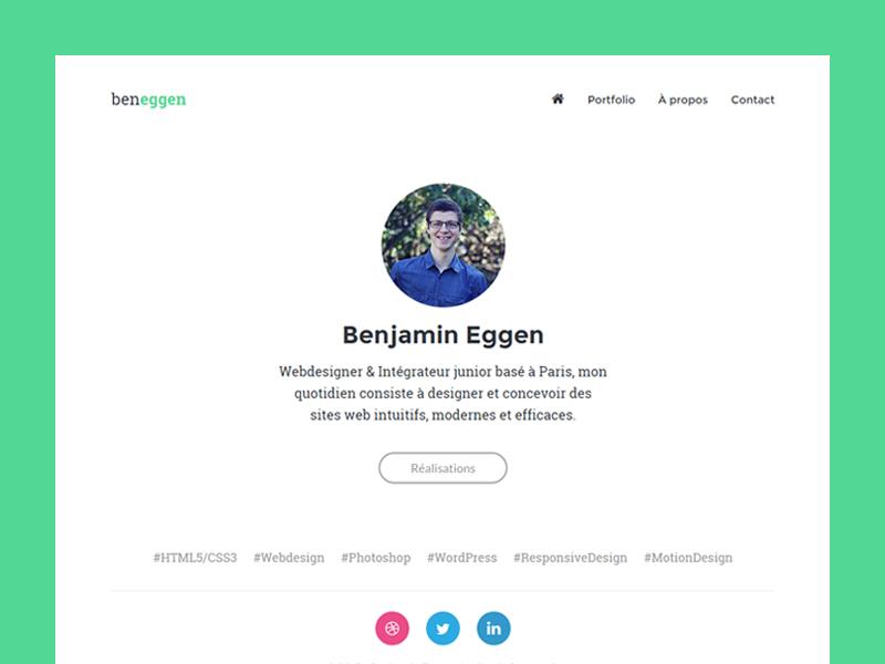 Portfolio [V2] portfolio redesign minimalist clean simple green webdesign website homepage ghost button hashtags french