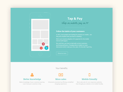Tap & Pay - Landing page onepage customers iphone mobile icons flat blue landingpage webdesign website