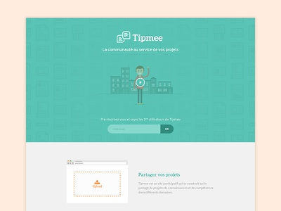 Landing Page - Tipmee upload community website background icons play video form flat design blue one page landing page