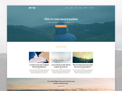 [Preview] Blog - Home home webdesign website template blue posts quote header hero article homepage blog