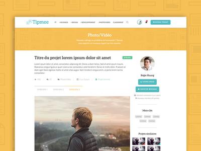 Single Project - Tipmee thumbnail community flat design single project pattern hero header yellow website