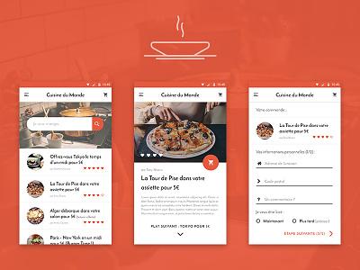 Food App Design step order meal list search pizza material design ui app food