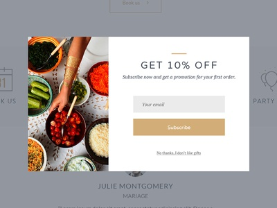 Popin - Ecommerce Website promotion offer newsletter subscribe food webdesign ecommerce popup popin