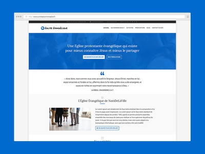 Apollos, a WordPress theme for french churches religion blue homepage website christian churches church wordpress theme webdesign