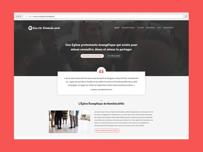 Epaphras, a WordPress theme for french churches religion blue homepage website christian churches church wordpress theme webdesign
