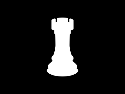 Rook Piece black and white chess
