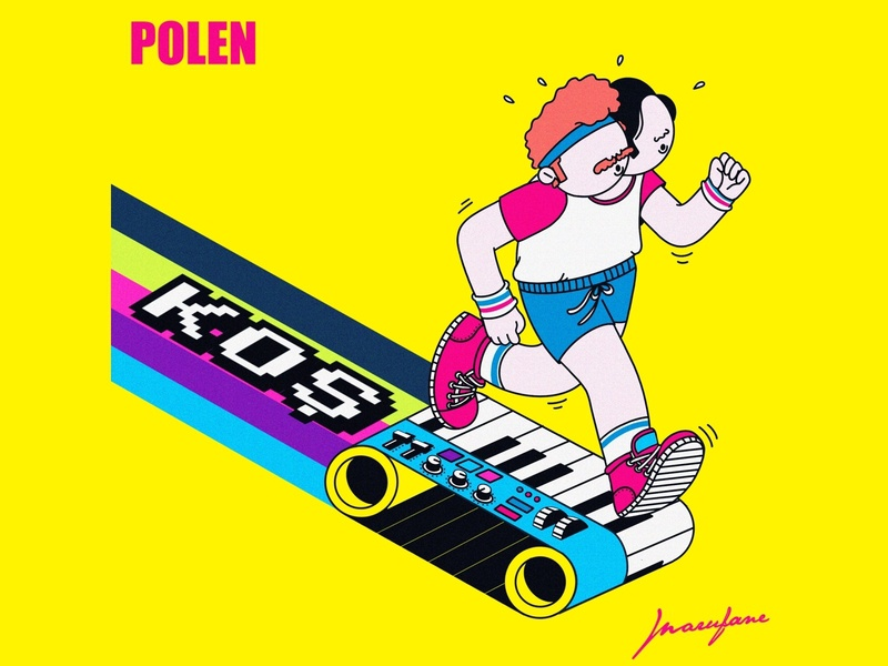 Polen-Koş Cover Art funky character run illustration character design music album cover