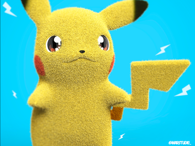 Pikachu Plush Toy pikachu pokemon illustration zbrush render character design animation 3d artist 3d art 3d