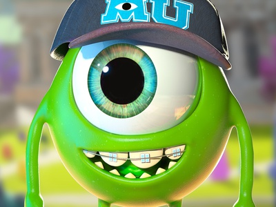 Mike Wazowski  Monster University monsters inc pixar disney art disney zbrush character design animation 3d artist 3d art 3d