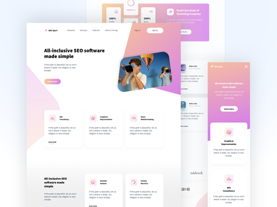 SEO Landing Page clean ui creative gradient typohraphy seo website ux ui design