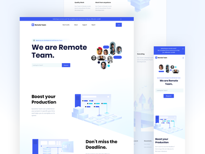 Remote Team Landing Page ui ux web 2020 trend design typography illustration landing page creative website