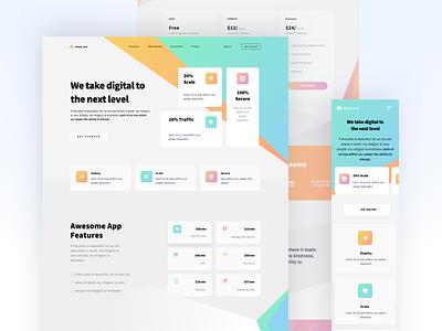 Hosting Landing Page hosting xd design design clean ui ux website typography web 2020 trend gradient colors ui landing page sketch figma xd