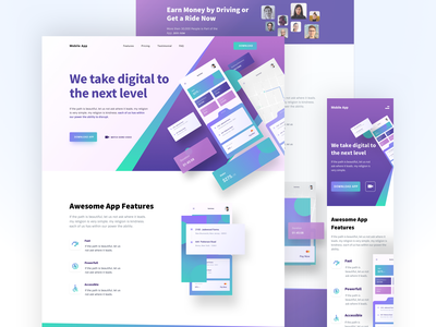 Application Landing Page sketch adobe xd figmadesign clean ui colors typography landing page 2020 trend web figma website design ui