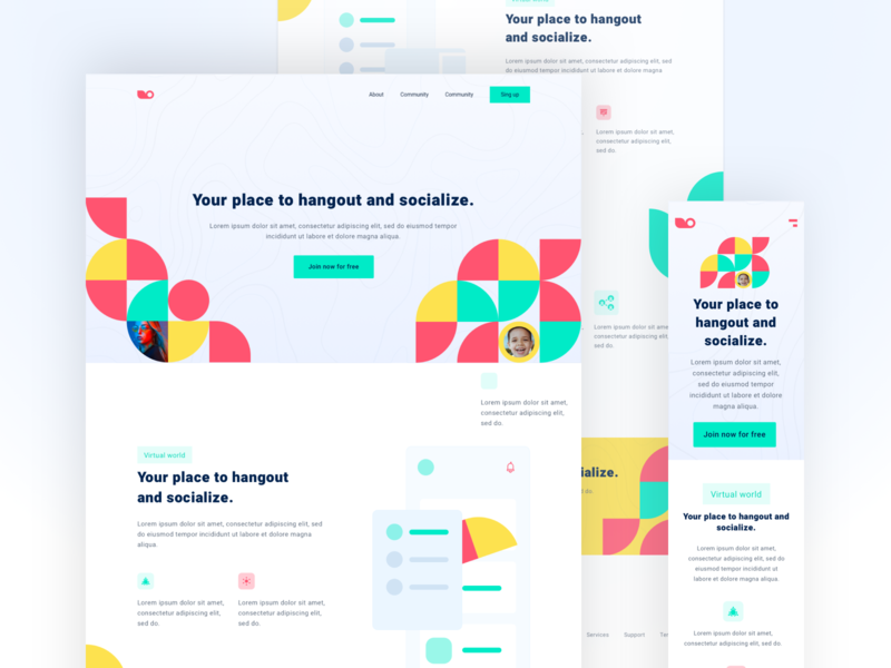 Social Meetup free clean ui landing page web figma creative colors design typogaphy ui ux website landingpage freebies