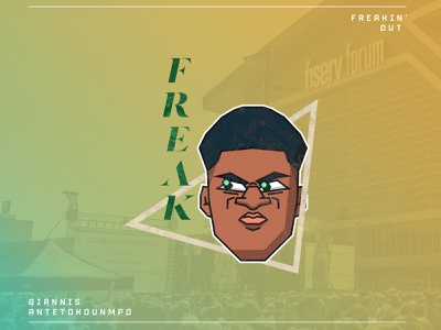 Freakin' Out greek freak nba giannis antetokounmpo bucks milwaukee design illustrator illustration
