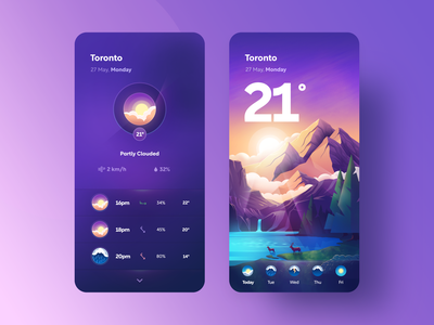Meta Weather APP illustrator landscape mountains mountain ux clean vector ui gradient illustration