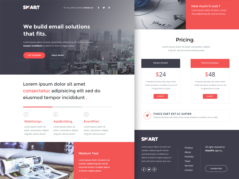 freebie psd smart email newsletter html template by walid