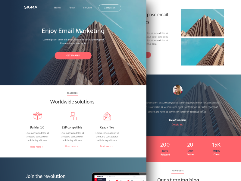 email newsletter html template sigma by walid beno dribbble