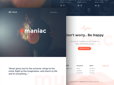 Music Band HTML Email / Newsletter mailchimp email template newsletter clean minimal web popup templates email