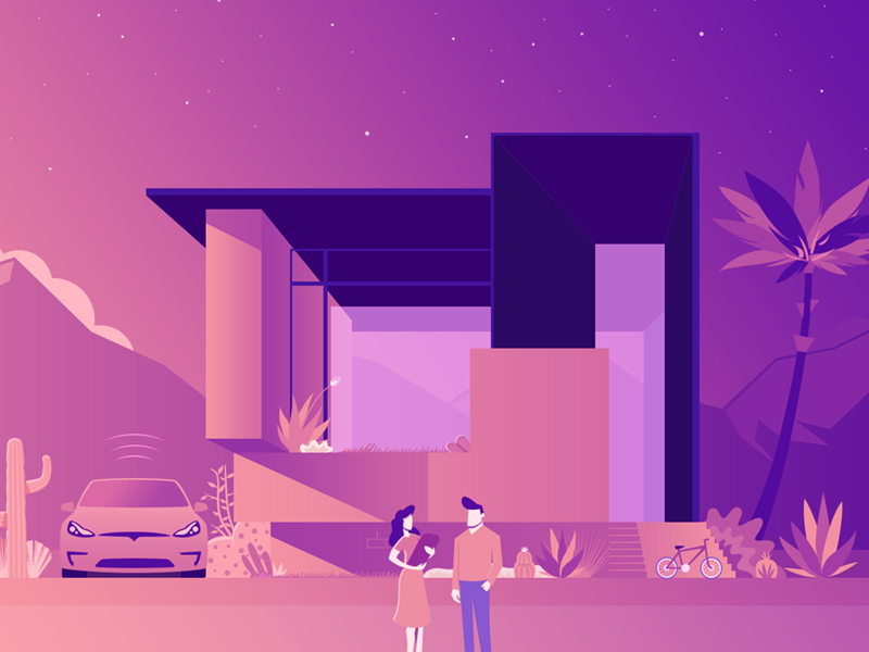 Illustration gradient game ui design sun mountain landscape vector illustration