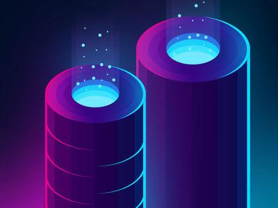 Daily challenge illustration 2/100 ( isometric tubes ) glow gradient isometric vector illustration
