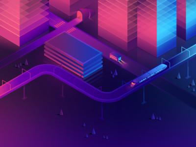 Isometric city illustration page game glow neon city minimal 3d isometric