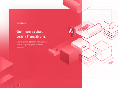 Work in pogress / Angular Page illustration isometric red angular subpage landing web