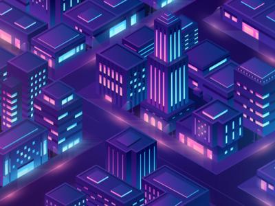 Isometric city beno 3d landing china gradient building city light purple ui icon design illustration isometric