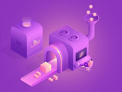 isometric machine + Funnel illustration design ui minimal 3d isometric