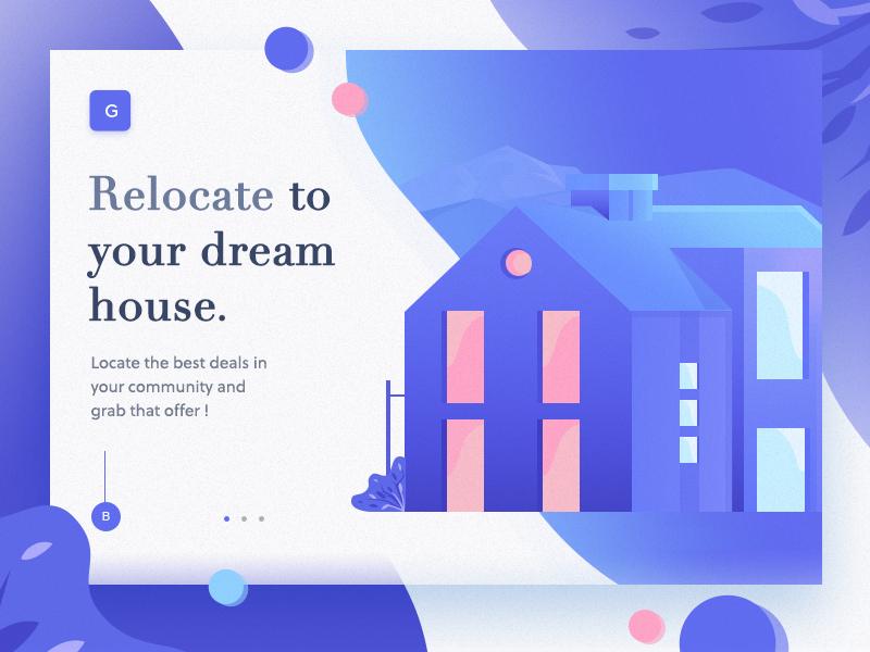 Dream House 3d banner website gradient slider web landing design ui icon illustration page