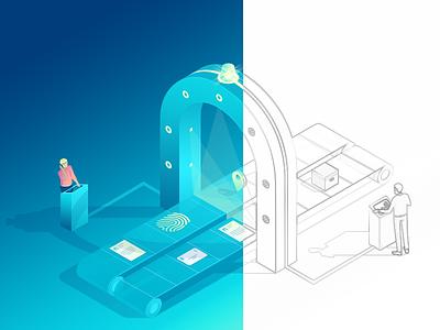Work in progress illustration technology printer 3d isometric