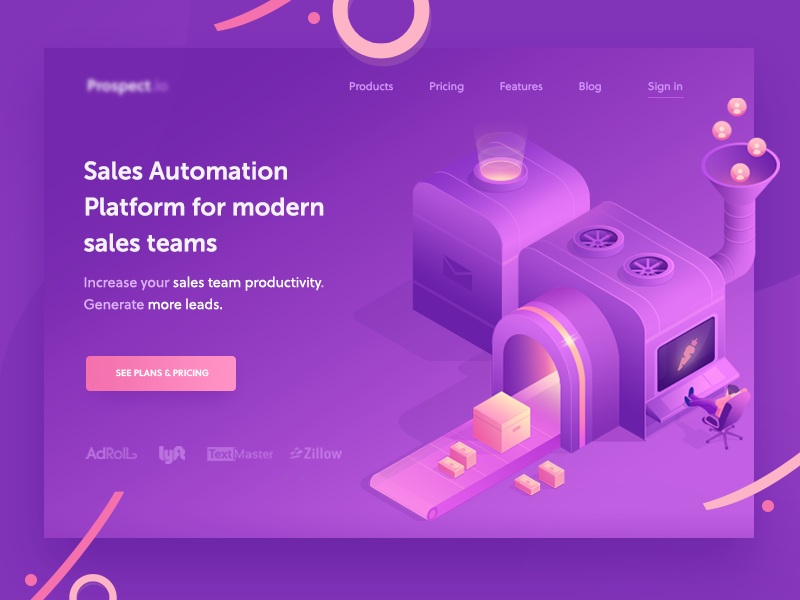 landing draft 1 machine purple gradient isometric banner illustration icon app web