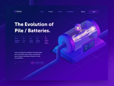 The infinite Battery ( in progress ) purple page main landing web power illustration technology machine 3d isometric
