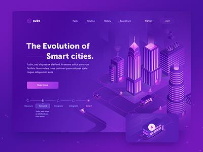 Smart cities - Concept 1 main landing web power illustration technology machine 3d isometric