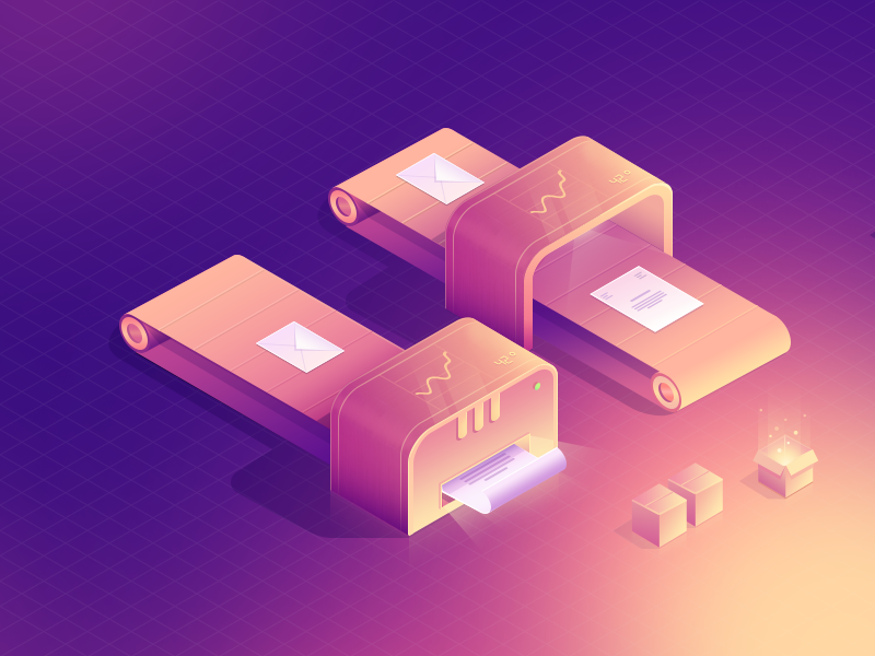 Isometric ePrinter illustration design ui minimal 3d isometric
