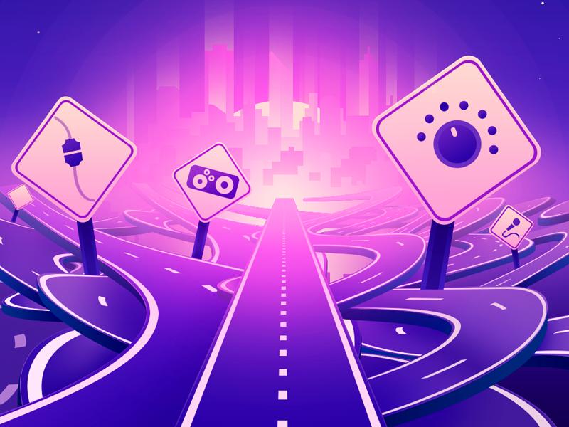 Never get stuck again ( illustration ) gradient neon light signal city roads illustration