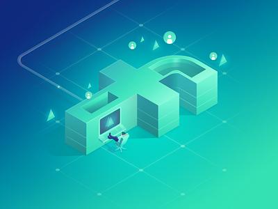 Facebook machine data machine cyan illustration design ui minimal 3d isometric