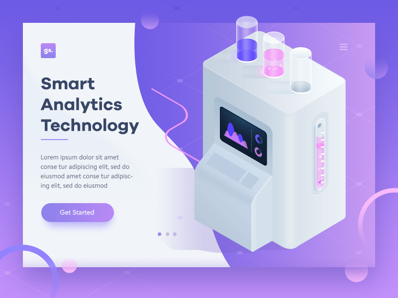 Analytics Machine illustration design ui lab stats machine analytics landing page isometric purple