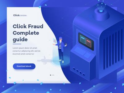 Click Fraud hosting server landing page web illustration design ui minimal 3d isometric