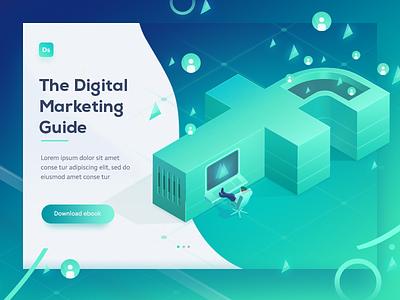 FB / Digital Marketing isometric illustration design icon ui