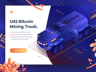 Bitcoin Mining Truck blue gradient truck bitcoin website landing game crypto ui icon illustration isometric