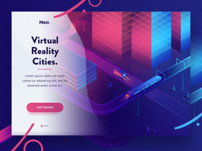 Virtual reality cities road bus train future city landing design ui icon illustration web isometric