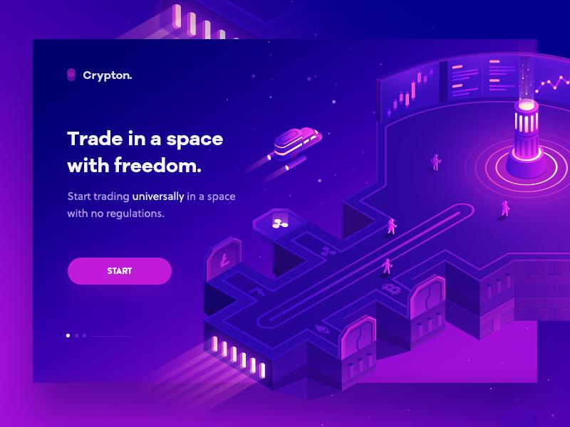 Crypton technology purple crypto ui icon design illustration isometric