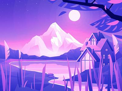 Lake House - illustration house mobile app design ui illustration