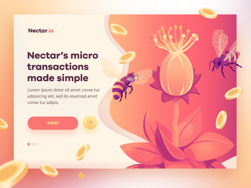 Nectar concept1 ( in progress ) isometric fly gradient etherium web page landing crypto nectar mobile app ui illustration