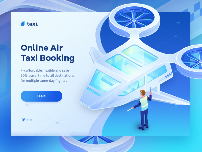 Air Taxi concept gradient taxi blue website landing page web ui icon illustration isometric