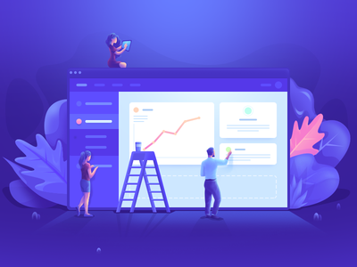 Team Workshop purple window workshop startup team browser illustration